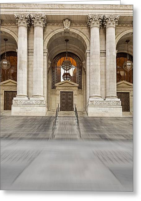 Beaux-arts Greeting Cards - The New York Public Library Greeting Card by Susan Candelario