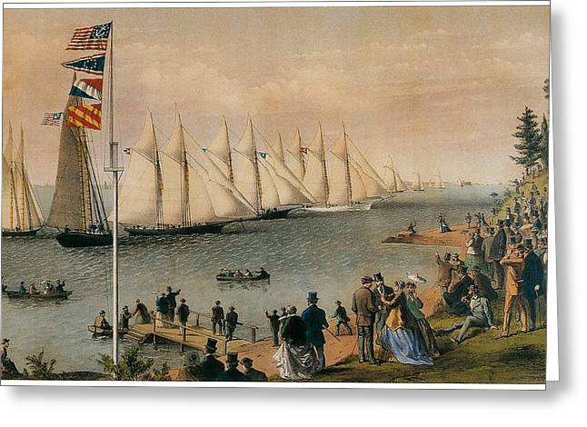 Atwater Greeting Cards - The New York Yacht Club Regatta Greeting Card by Charles Parsons and LyAtwater Nathaniel Currier
