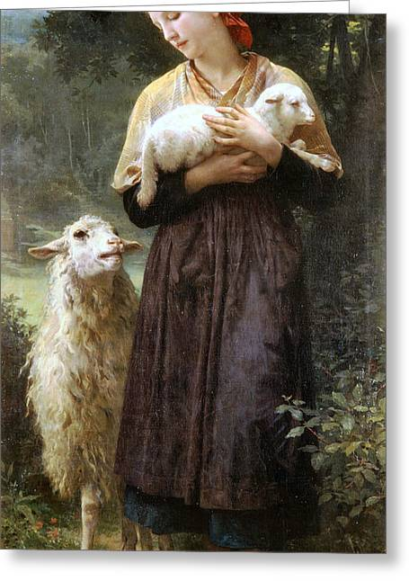 Sheep Greeting Cards - The Newborn Lamb Greeting Card by William Bouguereau