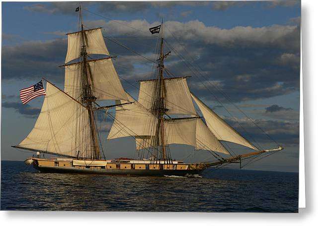 Tall Ships On Water Greeting Cards - The Niagara Greeting Card by Cathi Williams