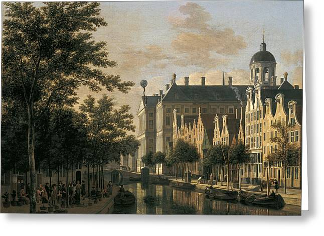Amsterdam Market Greeting Cards - The Nieuwezijds Voorburgswal with the Flower Market Amsterdam Greeting Card by Gerrit Adriaenszoon Berckheyde