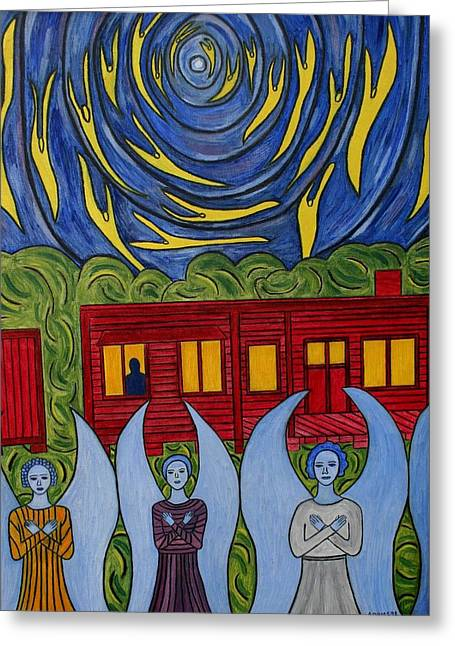 Visionary Artist Greeting Cards - The Night Angels Came Greeting Card by Sandra Marie Adams