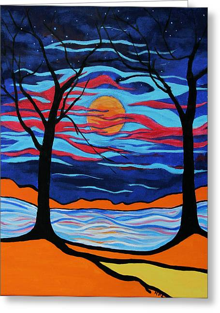 Kpl Greeting Cards - The Night Dances Greeting Card by Kathy Peltomaa Lewis
