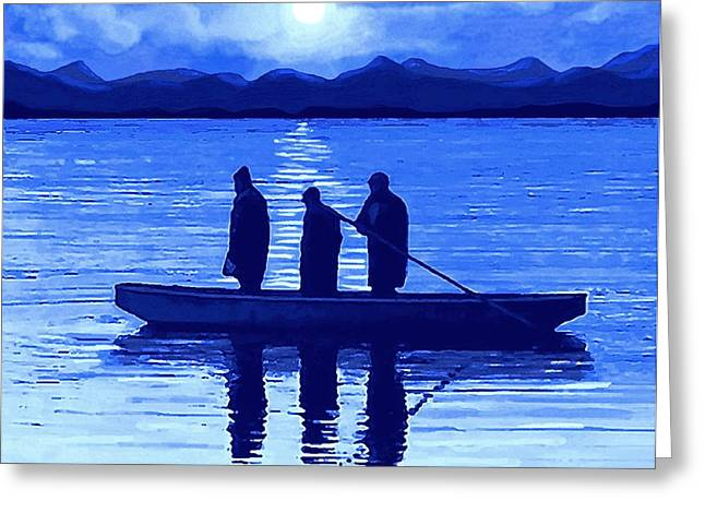Fishing Boats Pastels Greeting Cards - The Night Fishermen Greeting Card by SophiaArt Gallery