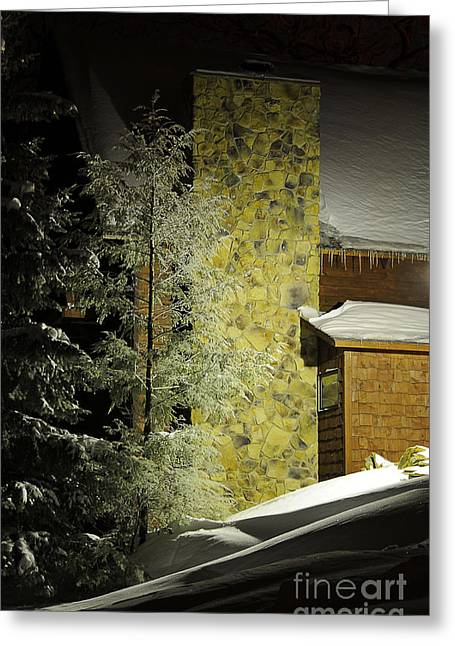 Snowy Night Night Greeting Cards - The Night Light Greeting Card by Lois Bryan
