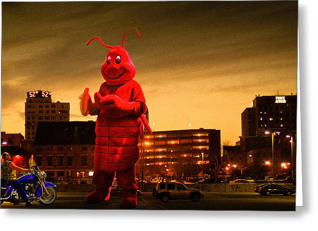 Syfy Greeting Cards - The Night Of The Lobster Man Greeting Card by Bob Orsillo
