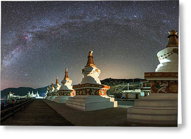 The Night Sky Over A Buddhist Shrine Greeting Card by Jeff Dai