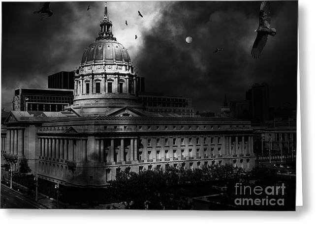 Civic Center Greeting Cards - The Night The Vultures Returned To San Francisco City Hall 5D22510 Black and White Greeting Card by Wingsdomain Art and Photography
