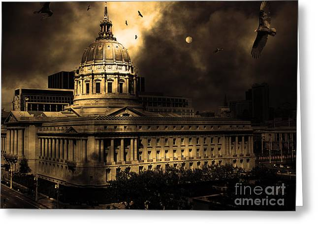 Fantasy Creatures Greeting Cards - The Night The Vultures Returned To San Francisco City Hall 5D22510 Greeting Card by Wingsdomain Art and Photography