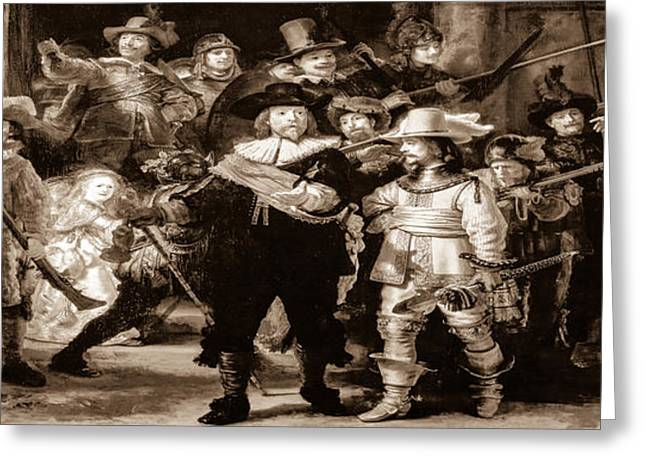 Historical Pictures Greeting Cards - The Night Watch by Rembrandt Greeting Card by Alex Hiemstra