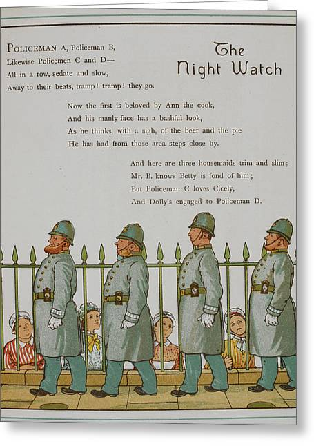 The Night Watch. Four Policeman Greeting Card by British Library
