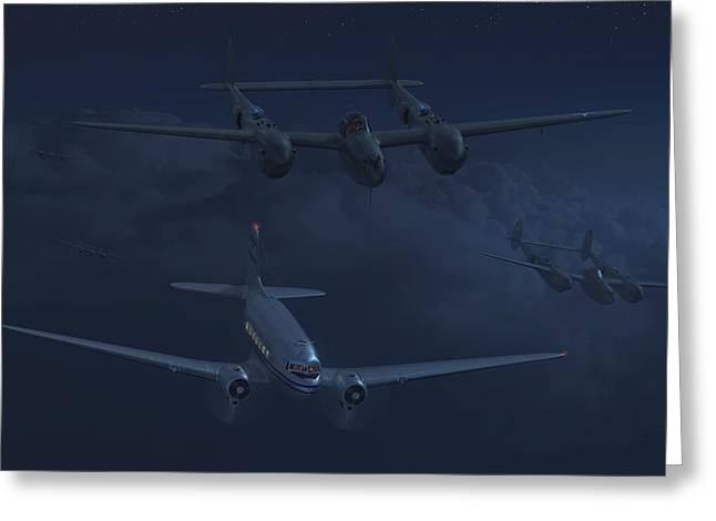 American Airways Greeting Cards - The Night Watch Greeting Card by Hangar B Productions