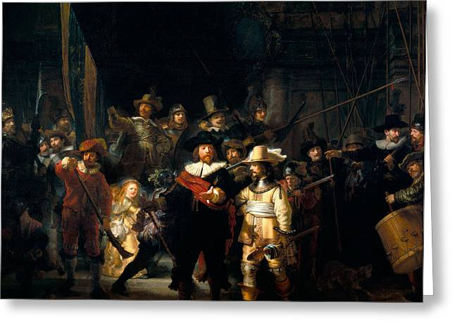 Banquet Greeting Cards - The Night Watch Greeting Card by Rembrandt van Rijn