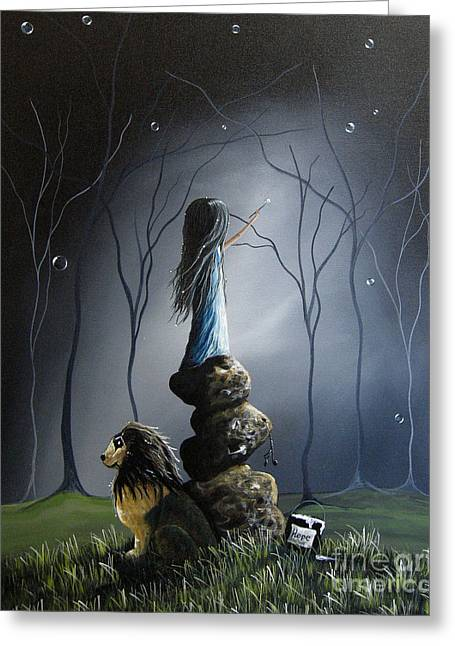 Outsider Greeting Cards - The Night Watchman by Shawna Erback Greeting Card by Shawna Erback