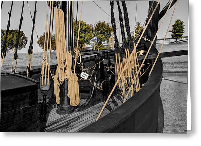 Wooden Ship Greeting Cards - The Nina and Pinta  Columbus Replica Ships  v13 Greeting Card by John Straton