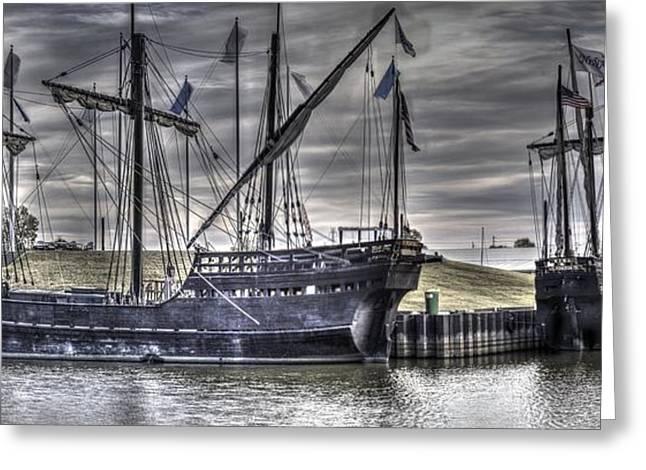 Historic Ship Greeting Cards - The Nina and Pinta Columbus Replica Ships  v10 Greeting Card by John Straton