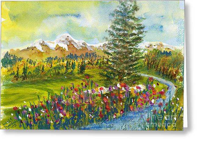 Wolf Creek Paintings Greeting Cards - The Ninth Hole Greeting Card by Walt Brodis