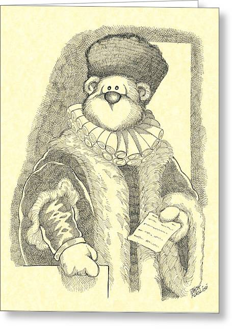 Bear Cartoon Greeting Cards - The noble bear Greeting Card by Jack Puglisi