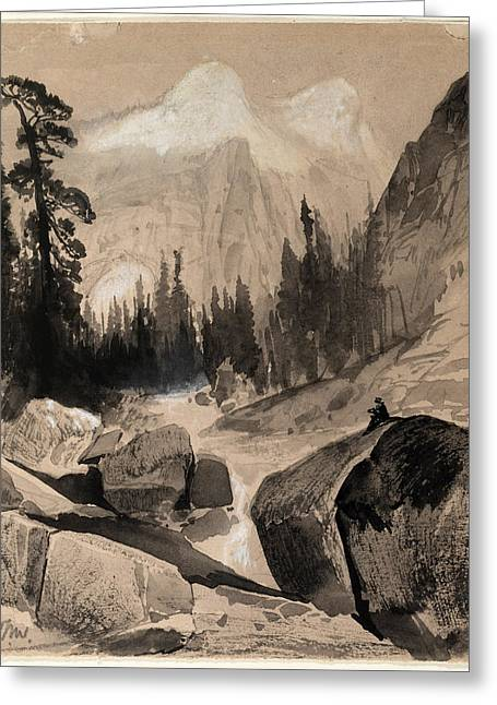 White River Scene Drawings Greeting Cards - The North Dome Yosemite California Greeting Card by Thomas Moran