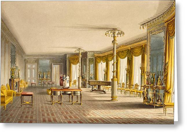 Curtains Drawings Greeting Cards - The North Drawing Room, Or Music Room Greeting Card by English School