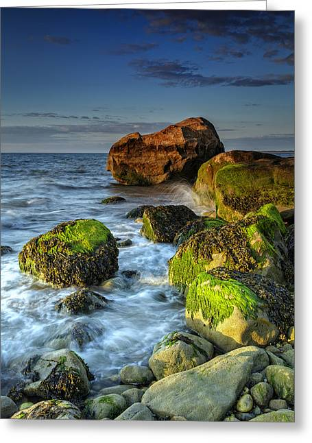 The North Fork's Rocky Shore Greeting Card by Rick Berk
