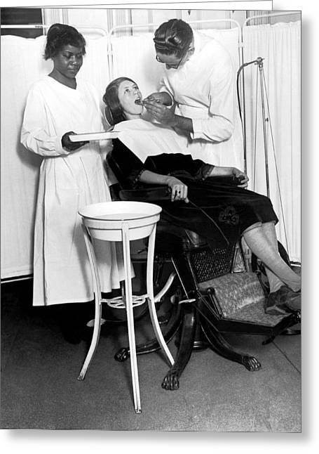The North Harlem Dental Clinic Greeting Card by Underwood Archives