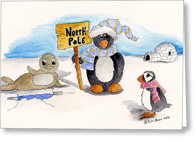 Pole Drawings Greeting Cards - The North Pole Greeting Card by Eva Ason