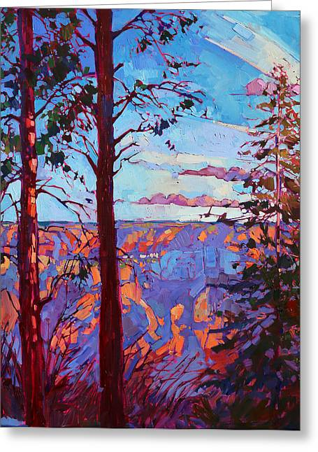 North Rim Greeting Cards - The North Rim Hexaptych - Panel 3 Greeting Card by Erin Hanson