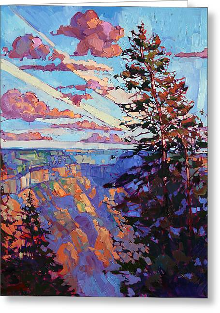 North Rim Greeting Cards - The North Rim Hexaptych - Panel 4 Greeting Card by Erin Hanson