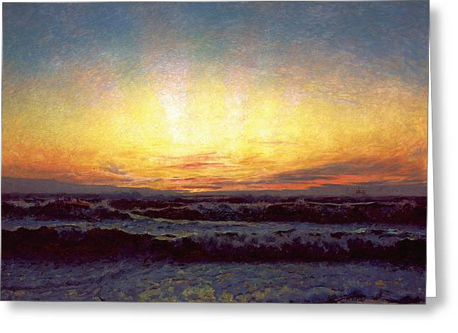 After Sunset Greeting Cards - The North Sea in stormy weather.  After sunset. Hojen Greeting Card by Laurits Tuxen
