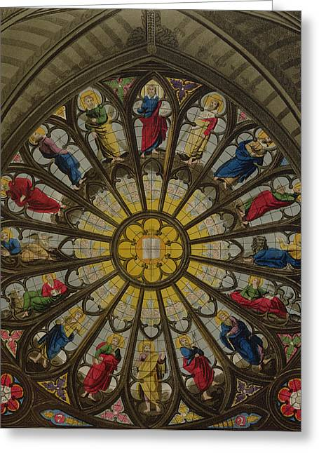 Stained Glass Greeting Cards - The North Window Greeting Card by William Johnstone White