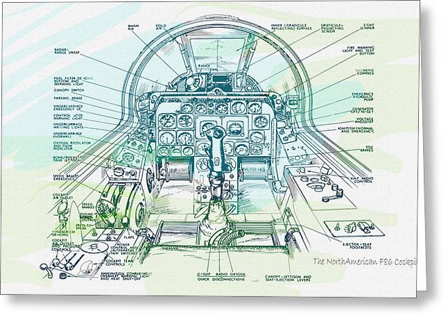 Label Greeting Cards - The NorthAmerican F86 Cockpit  Greeting Card by Don Kuing