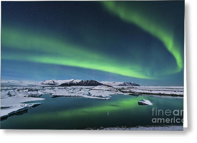 Northern Polar Lights Greeting Cards - The Northern Lights Dance Greeting Card by John Davis