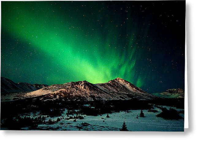 Moonlit Night Greeting Cards - The Northern Lights Over Wolverine Peak Greeting Card by Michael Jones