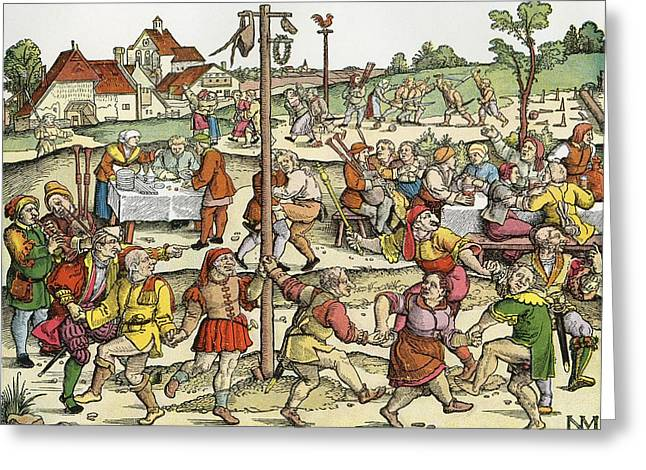 Mediaeval Greeting Cards - The Nose Dance, After A 16th Century Woodcut By Nikolaus Meldemann.  A Rural German Dance Festival Greeting Card by Bridgeman Images