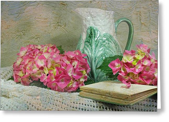 Still Life With Pitcher Greeting Cards - The Novel Edit Greeting Card by Diana Angstadt