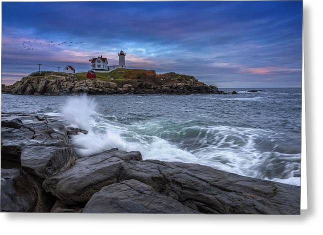 Maine Greeting Cards - The Nubble In Color Greeting Card by Rick Berk