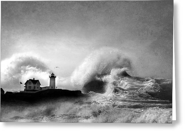 Maine Beach Greeting Cards - The Nubble in Trouble Greeting Card by Lori Deiter