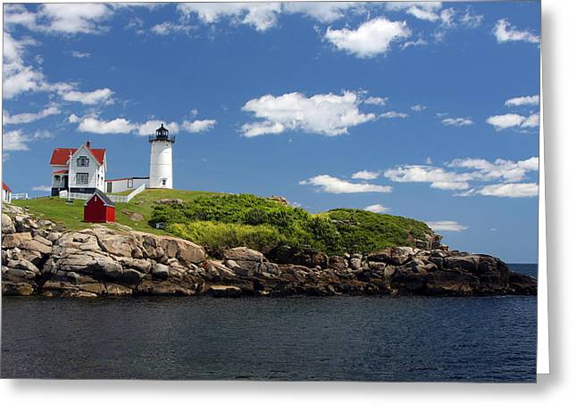 Cape Neddick Lighthouse Greeting Cards - The Nubble Greeting Card by John Bell