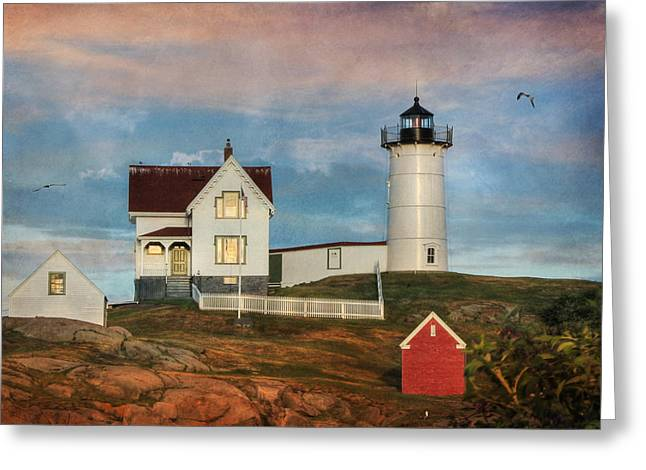 Cape Neddick Greeting Cards - The Nubble Lighthouse Greeting Card by Lori Deiter