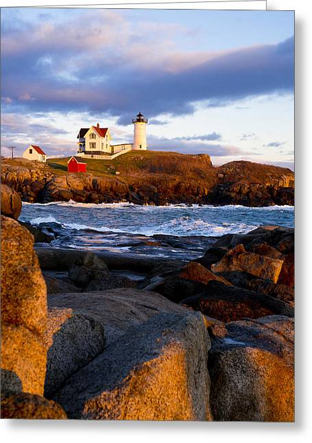 Cape Neddick Lighthouse Greeting Cards - The Nubble Lighthouse Greeting Card by Steven Ralser