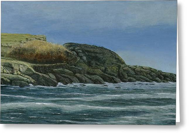 Nubble Lighthouse Paintings Greeting Cards - The Nubble Greeting Card by Nan McCarthy