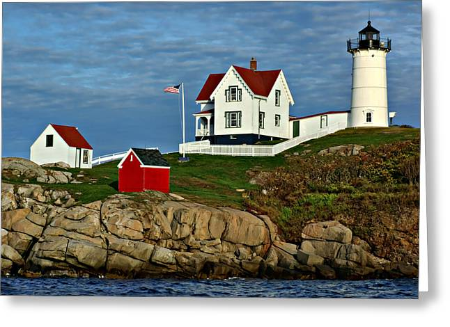 Cape Neddick Lighthouse Greeting Cards - The Nubble Greeting Card by Nikolyn McDonald