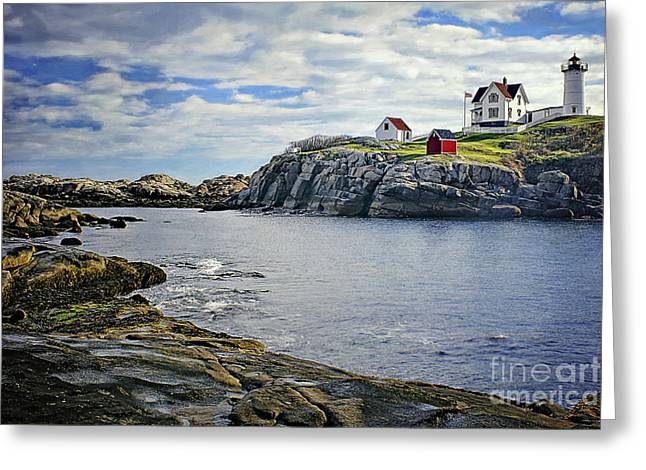 Cape Neddick Lighthouse Greeting Cards - The Nubble Greeting Card by Priscilla Burgers