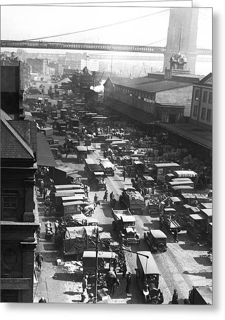 The Ny Fulton Street Market Greeting Card by Underwood Archives
