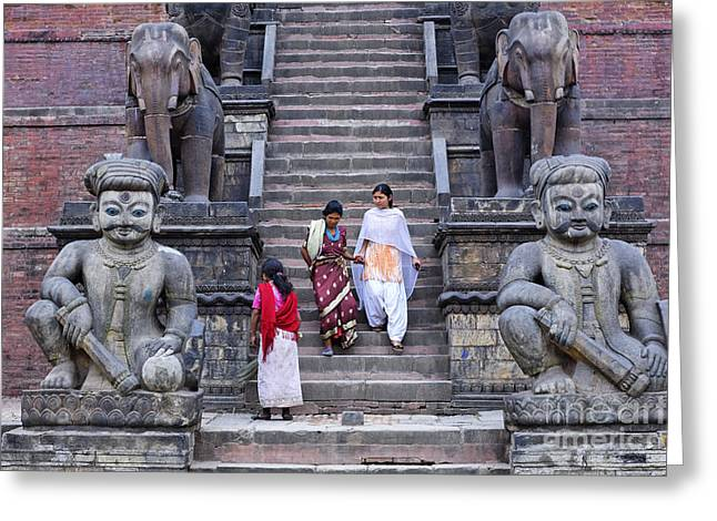 Religious Photographs Greeting Cards - The Nyatapola Temple at Bhaktapur in Nepal Greeting Card by Robert Preston