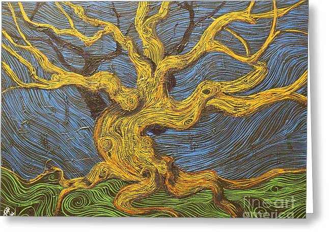 Squiggleism Greeting Cards - The Oak Dance Greeting Card by Stefan Duncan