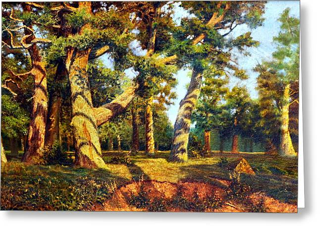 Reserve Greeting Cards -   Green Summer-The Oak Forest Greeting Card by Henryk Gorecki