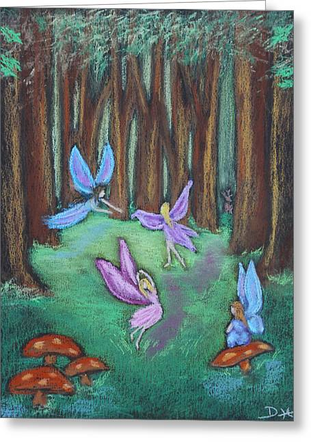 Fantasy Tree Art Pastels Greeting Cards - The Oak Grove Greeting Card by Diana Haronis