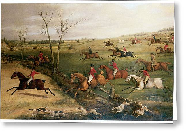 Horseman Greeting Cards - The Oakley Hunt Greeting Card by Henry Thomas Alken